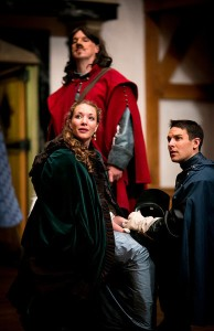 John Harrell as Cyrano, Sara Hymes as Roxanne and Patrick Midgley as Christian in ASC's production of Cyrano de Bergerac